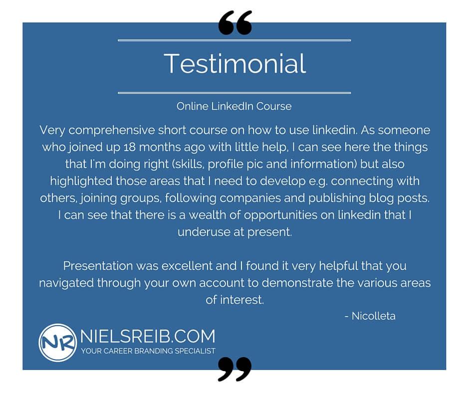 Testimonial - LinkedIn Course